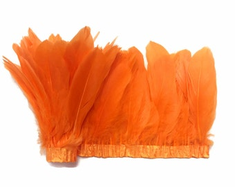 Goose Feather Trim, 1 Yard - ORANGE Goose Nagoire and Satinettes Feather Trim  : 3196