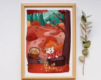 Kids poster, Autumn in the woods, illustration poster, kids room print, nursery illustration, Little Jade and mushrooms, nursery print