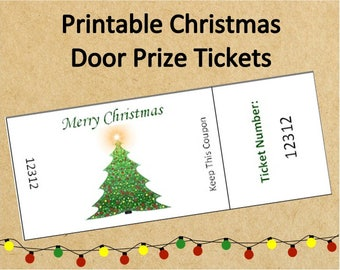 Instant Download Christmas Door Prize Tickets~Up to 40 Tickets!~Numbered Christmas Raffle Tickets~Printable Holiday Party Door Prize Tickets