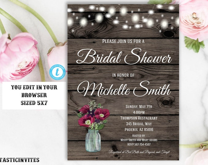 Rustic Bridal Shower Invitation, Rustic Invitation, Mason Jar invitation, Instant Download, Bridal Shower Invitation, Wood Invitation