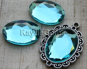 Oval 18x25 Mirror Glass Cabochon Cab Faceted Table Cut - Aqua- 2pcs