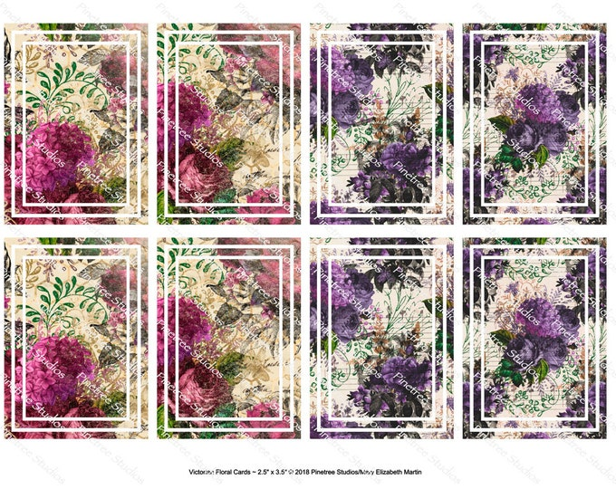 "Victorian Floral Cards (2.5""x 3.5"") ~ Digital Download ~ Printable / Journal Cards / Label / Gift Tags / Bookmarks / ATC Cards / Ephemera"