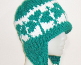 Lucky, Womens Hats With Ear Flaps - Shamrock Hats - Hand Knit Woman Winter Hat - Green, White
