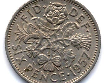 1957 Sixpence Coin for the Brides Shoe Elizabeth II