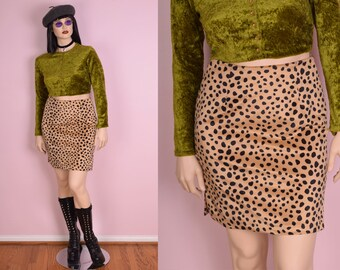 90s Fuzzy Spotted High Waisted Skirt/ Large/ 1990s