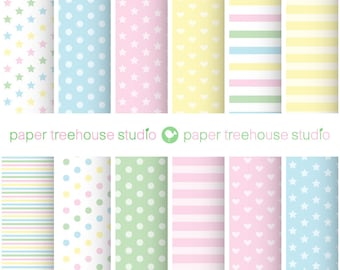 Pastel Digital Paper. Heart Digital Paper. Star Digital Paper. Baby Shower Download. Baby Scrapbook Paper. Pink Stripe Paper. Polka Dot PNG.