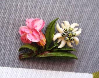 Velvet flowers edelweiss jewelry edelweiss flower jewelry vintage 1930s carved celluloid gentian and edelweiss flower brooch tiny mightylinksfo