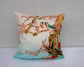 Flower Bird Pillowcase Flowers Pillow Bird Cushion Decorative Velvet Pillow Sitting Birds Light Pink And Blue