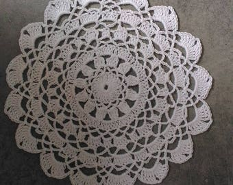 Handmade doily 18 cm, white, round crocheted with fine cotton