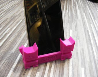 Custom Name Cat phone stand | iphone dock | cell phone stand | phone holder | phone dock | iPhone | iPhone accessory | iPad stand | stand