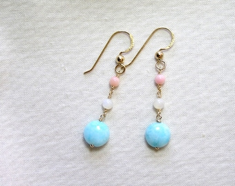 Peruvian Opal and pink Coral, MOP Earrings, Golf Filled