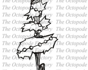 INSTANT DOWNLOAD Whimsical Christmas Tree Digital Stamp