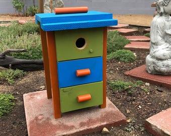Retro Modern Dresser Drawer Functional Birdhouse, Wren Bird House, Handmade Birdhouses Custom Design, Item #532152708