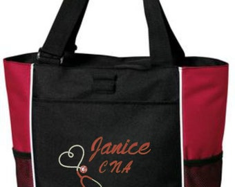 Nurse Tote, Nurse Bag, Personalized, CNA, LVN, ICU, Stethoscope, Heart, Student Nurse, Nurse Gift, Personalized Gift, Cre8ivGifts
