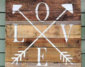 Handpainted Love/Arrows Sign from Reclaimed Wood