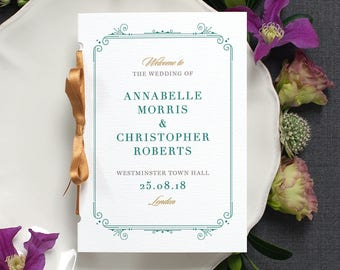 Elegant Wedding Program / 'Bloomsbury' Pocket-sized Order of Service Mass Booklet / Modern Minimal Wedding / Green and Gold / ONE SAMPLE