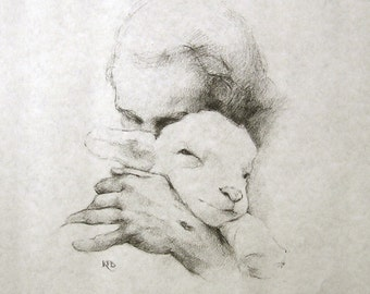 "Jesus and the Lamb - 14""x11"" Pencil Sketch Unframed Paper Print - Katherine Brown, 1982."