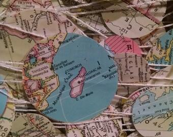 World Map Paper Garland -  circles - 10' strand
