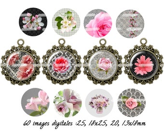 60 digital images for cabochon la vie en rose (25,18x25,20,13x18mm)