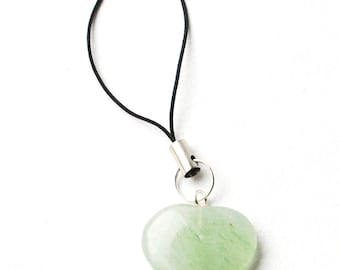 Green Aventurine Crystal Heart Keyring Bag Mobile Charm