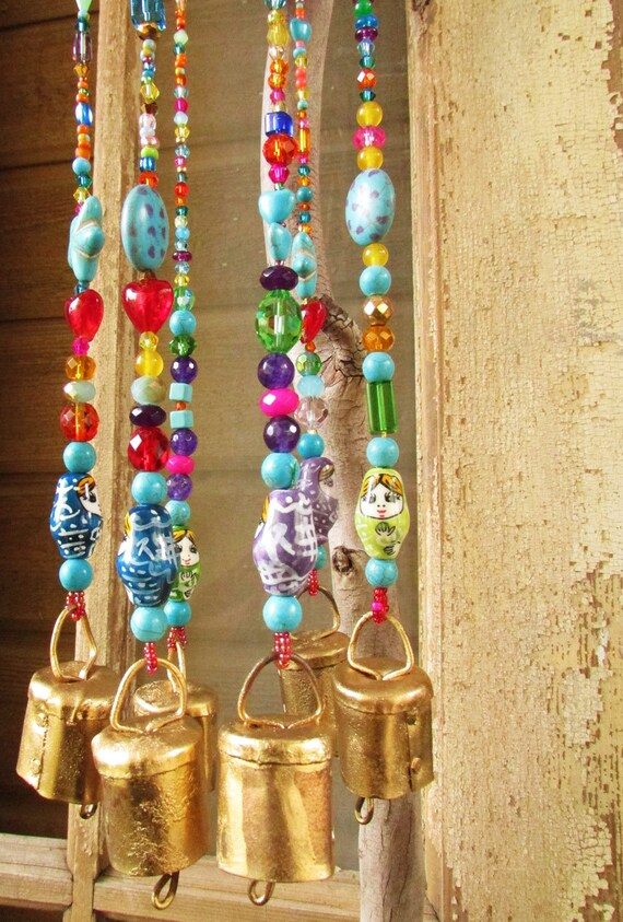 Unique Wind Chimes Mobile Bells D 233 Cor Glass Bead Strands Wind