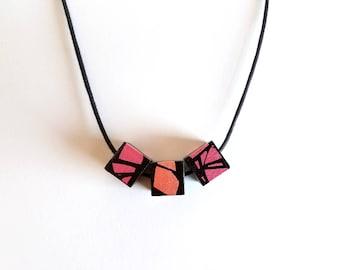 Metallic Pink & Peach Wood Necklace
