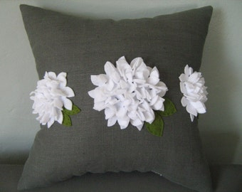 Trio of Hydrangea Pillow on Grey Linen and White Flower Blooms