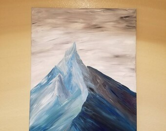 Himalayan mountain acrylic painting on canvas, snow covered mountain painting Nepal scenic landscape mountain range