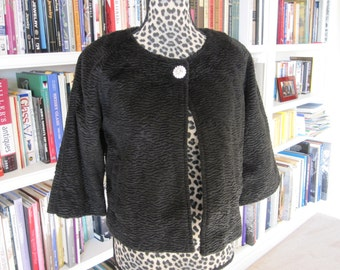 FAUX PERSIAN Lamb Jacket With Large Rhinestone Button