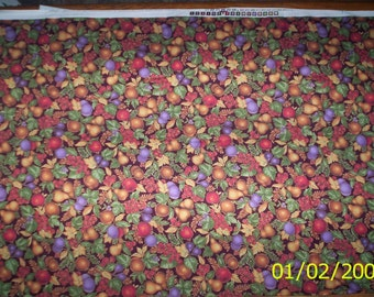 """New Black with Multi Color Fruit and Leaves 100% Cotton Fabric 1 Yard x 44"""" Wide Piece"""