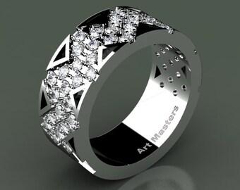 Womens Avant Garde 950 Platinum Diamond Wedding Band R805F-PLATD