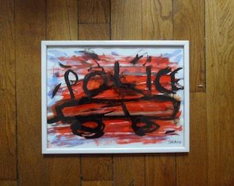 13 novembre / Peinture tableau paris  original 2018 painting with frame PEINTURE