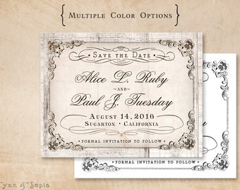Antique Calligraphy on Wood - Wedding Save the Date Design - 4x5 Postcard - Vintage Cottage Victorian Rustic  - White Grey Gray Neutral