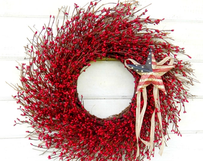 Featured listing image: 4th July Wreath-Patriotic Primitive Star Wreath-Summer Wreath-July 4th Door Wreath-RED Twig Wreath-Rustic Holiday Home Decor-Scented Wreaths