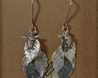 Holy Basil Earrings: Fine Silver with 14kt Rose Gold Details