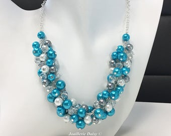 Turquoise and Grey Necklace Pearl Cluster Necklace Bridesmaids Gift Turquoise Gray Silver Blue Jewelry Gift for Her Maid of Honor