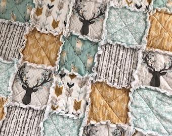 Rag Quilt- Brambleberry Ridge- Deer Antlers- Baby Rag Quilt- Crib Quilt- Baby Quilt- Crib Bedding- Forest Theme- Woodland Theme
