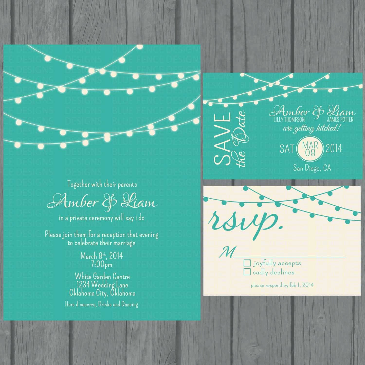 Digital String Lights Wedding Invitation teal non