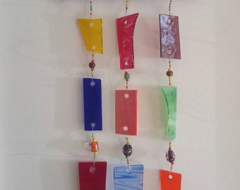 Rainbow colored Glass Wind Chime