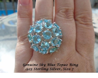 Genuine 17 ct Sky Blue Topaz Ring
