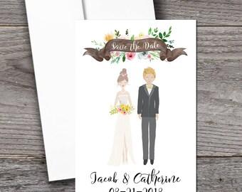 Custom portrait save the date invitations - wedding invitations illustrated invite
