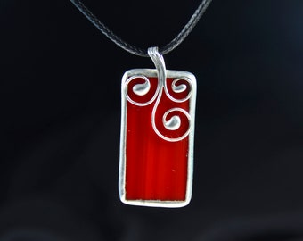 Stained glas jewelry, stain glass red pendant with cord, silver plated, glass jewelry in red, stained glass jewelry gift, handmade pendant