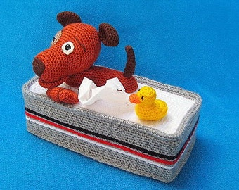 Tissue Box Cover Crochet Pattern Bathing Puppy Dog And Rubber Duck PDF Amigurumi