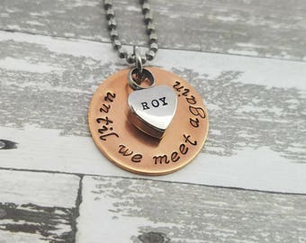 Cremation Necklace - Until We Meet Again Mixed Metals Custom Urn Necklace - Necklace for Ashes - Memorial Jewelry - Cremation Jewelry