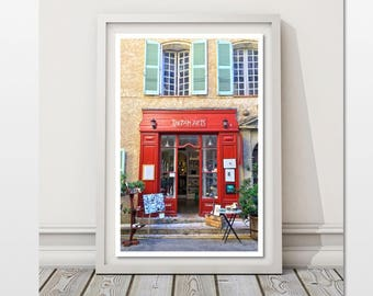 Provence Photo Red Door Picture Travel Wall Art France Photography DIY Colorful Decor French Street Print Storefront Image Provencal Pic