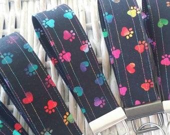 Key Chains-Key Rings-Key Fobs-Rainbow Pooch Paws on Black