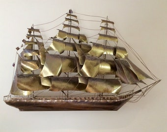 MidCentury Brutalist Clipper Sailing Ship Copper Brass Wall Sculpture Jere Era Signed