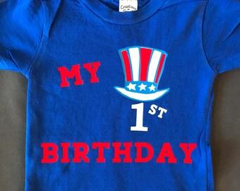 fourth of july birthday shirt, 4th of July Birthday Shirt, july birthday, blue shirt, america shirt, red, white & blue shirt, 1st birthday
