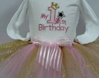 First birthday, 1st birthday girl, Princess, Pink, Gold, birthday,  birthday crown, girls1st birthday, bodysuit, tutu, personalized, custom