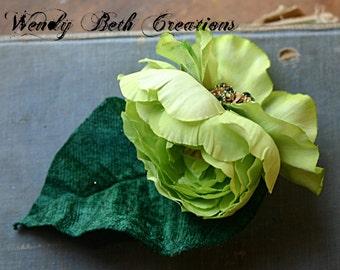 Lime Light Hair Clip Fascinator - Wedding, Steampunk,ATS, Tribal, Fusion, Belly Dance, Vegan, Hair Garden, Green